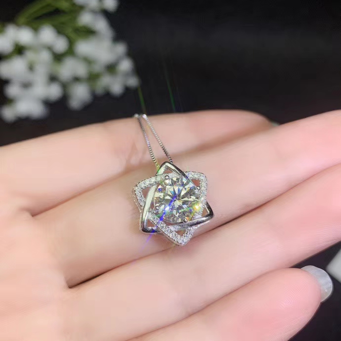 Well Deserving Flashing Moissanite Gem Necklace, Flashing Better Than Diamond Birthday Party Gift  925 Sterling Silver Shiny Gem