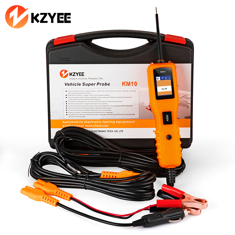 12V Power Probe Super Automotive Car Circuit Tester KZYEE KM10 Powerscan 24V breaker Open Circuit Reader Voltage Current Tester(China)