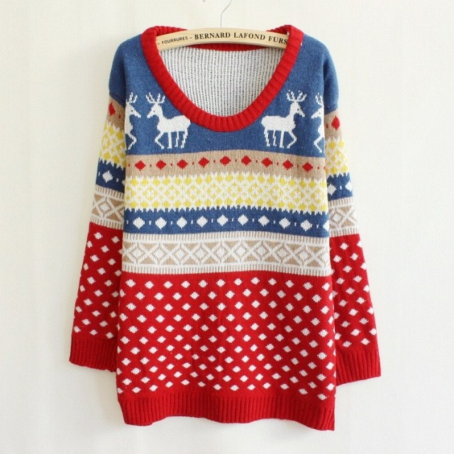 Hot Sale Women Christmas Deer Loose Pullovers Tops Patchwork Argyle font b Sweater b font Knitwear