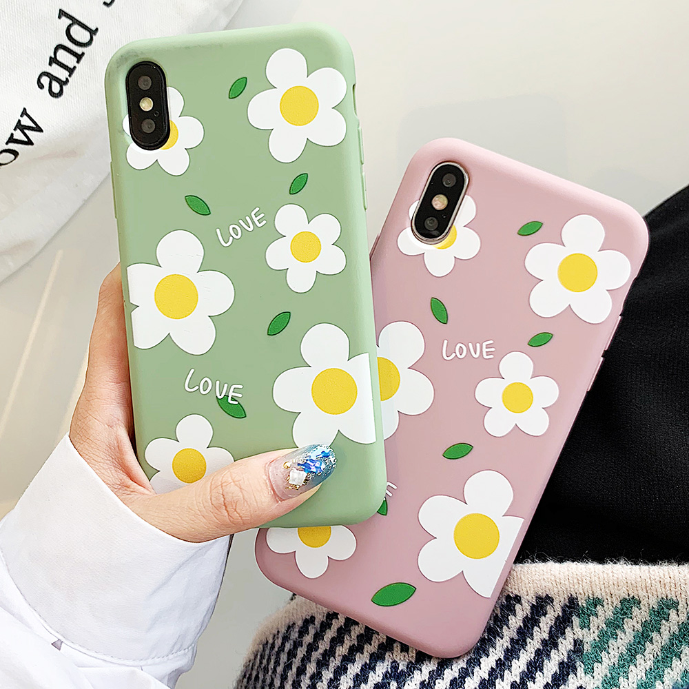 KIPX1113_6_JONSNOW Matte Phone Case for iPhone 6S 6P 7 8 Plus Small Daisy Pattern Soft Silicone Cases for iPhone X XR XS Max Capa Fundas