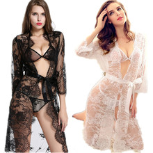 women's sleep & lounge hot lace robes black and white color robes   bra   t pants intimates lady nightdress sleepwear underwear
