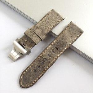 Image 5 - 24mm artesanal costurado couro de bezerro genuíno pulseira de relógio para implantação fivela pulseira para pam enviar também