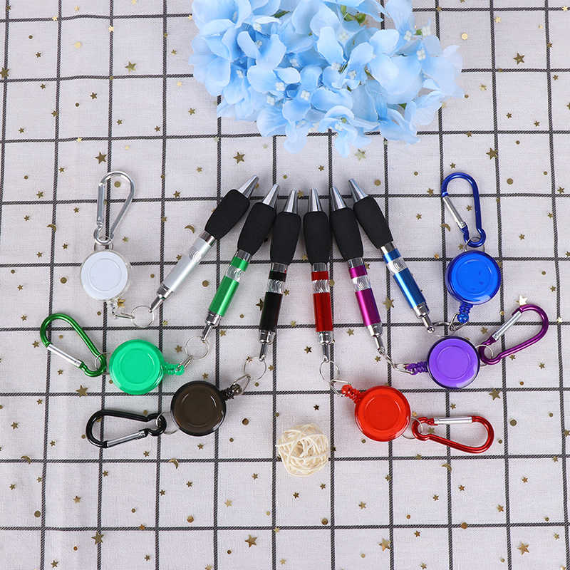 1pc Retractable Badge Reel Pen Belt Clip and Carabiner Keychain Ballpoint Pen