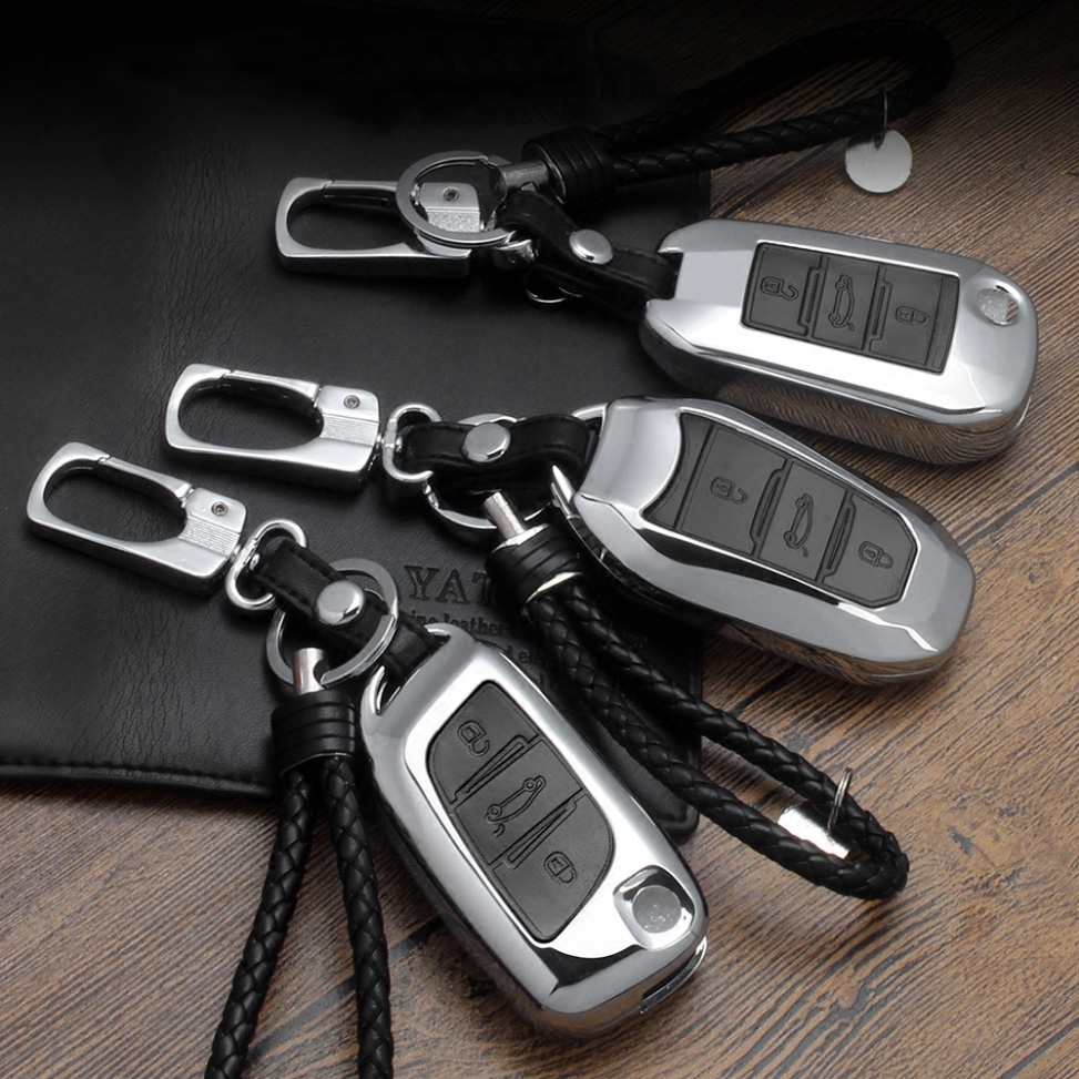 Zinc alloy+Leather Car Key Cover Case For Peugeot 3008 5008 408 2008 308 508 For Citroen C4 C5 C6 C4L CACTUS DS4 DS5L DS6 Elysee free shipping zinc alloy leather cover case car styling smart key shell for peugeot 2008 3008 4008 308s 408 508 car remote