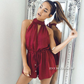 GZDL Sexy Women Chiffon Halter Off Shoulder V-Neck Sleeveless Drawstring Playsuit Loose Ruffles Casual Jumpsuit Rompers CL2916