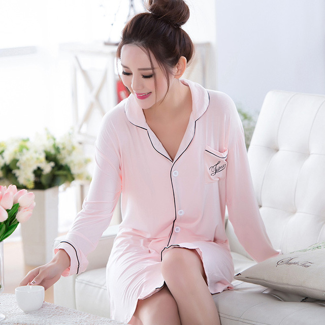 Mulheres Camisa Do Sono Sono de Beleza Sexy Sleepwear Camisola Cardigan 100% Algodão Desgaste Do Sono de Inverno Longo Das Senhoras Da Luva Camisas Do Sono