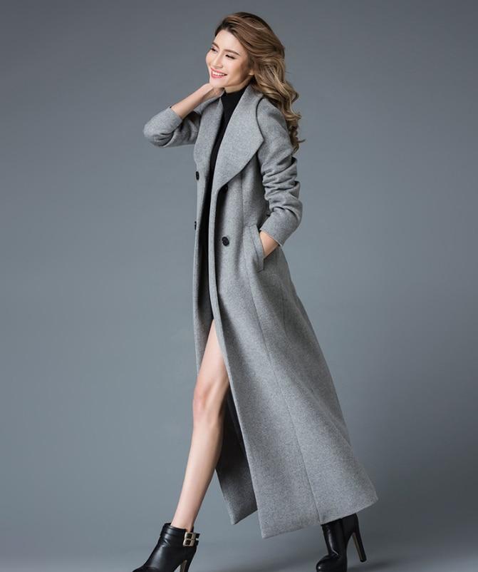 2017 winter x long wool coat women high end quality woolen ...