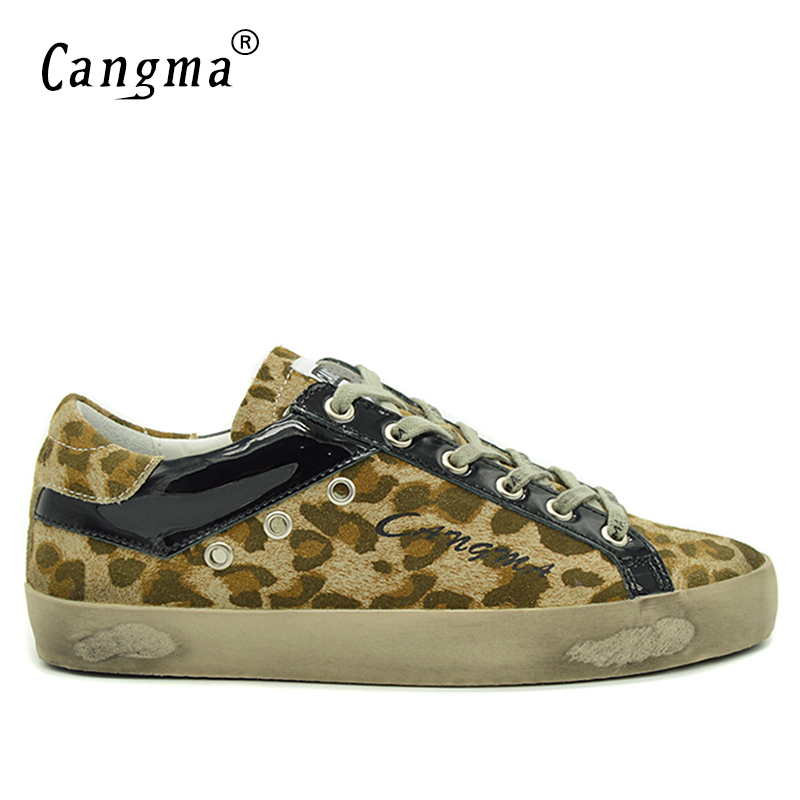 CANGMA Brand Male Classic Casual Shoes Men Leopard Print Yellow Genuine Leather Sneakers Breathable Man Flats Cow Suede Shoes
