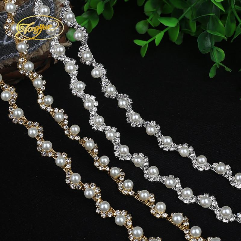 1 Yd Aloi Rantaian Mutiara Asas Pakaian Perhiasan Ornamen Silver Trim - Seni, kraf dan jahitan - Foto 1