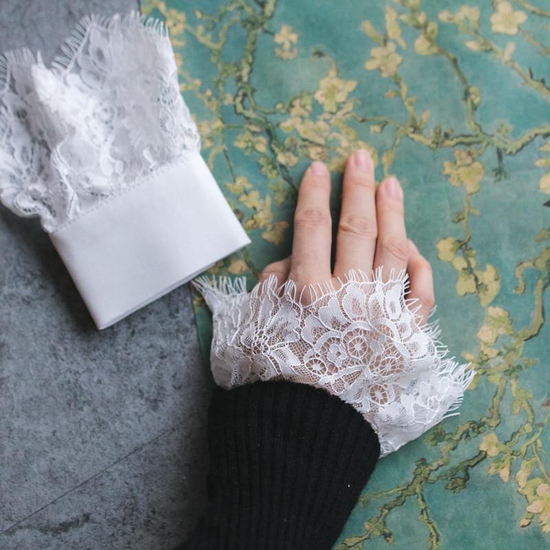 Fashion Bow Blue Cotton Mummy Sleeves Folding Hand Bowl Set Lace Autumn Women Hand Bowl Set Lace Fall Winter Women Knit Sweater
