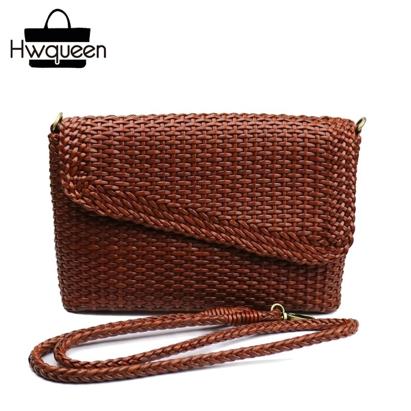 Knitting Designer Genuine Leather Ladies Small Woven Flap Purse Messenger Bag Vintage Female Womens Single Shoulder Sling Bag Knitting Designer Genuine Leather Ladies Small Woven Flap Purse Messenger Bag Vintage Female Womens Single Shoulder Sling Bag