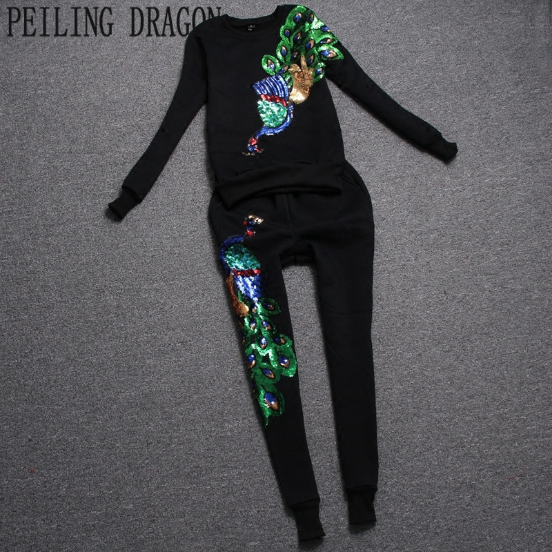 PEILING DRAGON women autumn casual set, slim sequined embroidery peacock full or short sleeve two piece sweatshirt sets T383