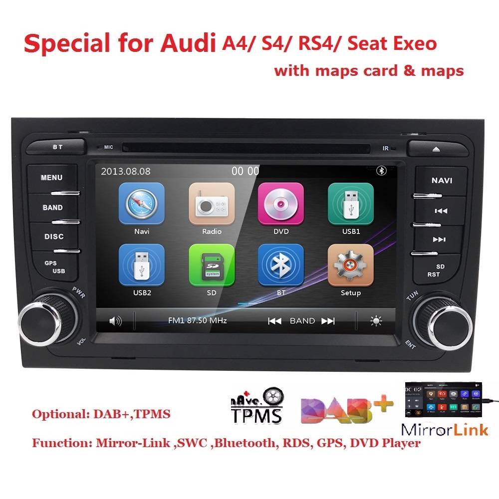 7Capacitive Touch Screen Car DVD Player for Audi A4 (2002 2008) Audi S4/RS4 GPS BT DAB SD Radio RDS Canbus Map DVBT SWC EQ USB