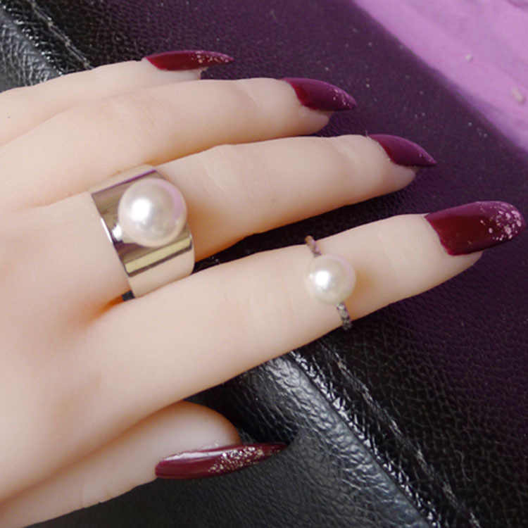 706    Fashion Exquisite Wide Simulated Pearl 2PCS Set Finger Rings Glaze Adjustable Open Knuckle Rings For Women    R1205