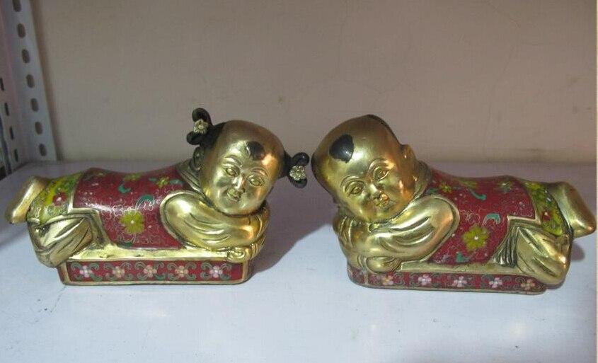 China Feng Shui 100% Pure Bronze cloisonne Boy and girl Auspicious pillow Pair