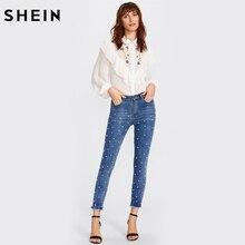 SHEIN Pearl Beaded Frayed Hem Jeans Casual Womens Skinny Jeans Denim Autumn High Waist Bleached Women Zipper Pants