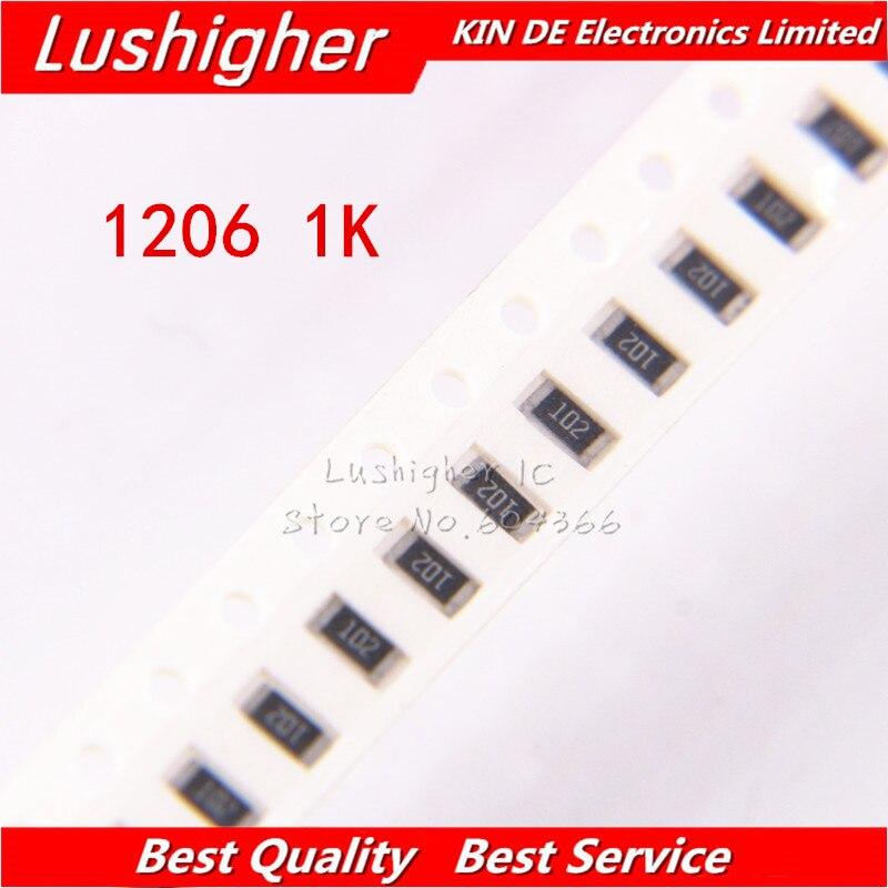 100PCS 1206 SMD Resistor 5% 1K Ohm 102 1.0Kohm 1000ohm