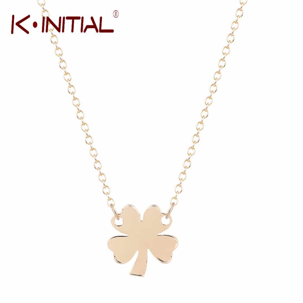 Kinitial 4 葉のクローブネックレス女性のためのネックレス & ペンダントクローバー kolye ステートメントネックレスギフト