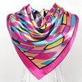China Style Design Satin Big Square Polyester Scarves Shawls Printed Pink Women Silk Scarf 90*90cm Spring Autumn Large Wraps