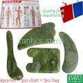 Buena calidad! Natural Esmalte Jade Massage Tool Junta Guasha (plaza + luna + triángulo + shape pen) 4 unids/set