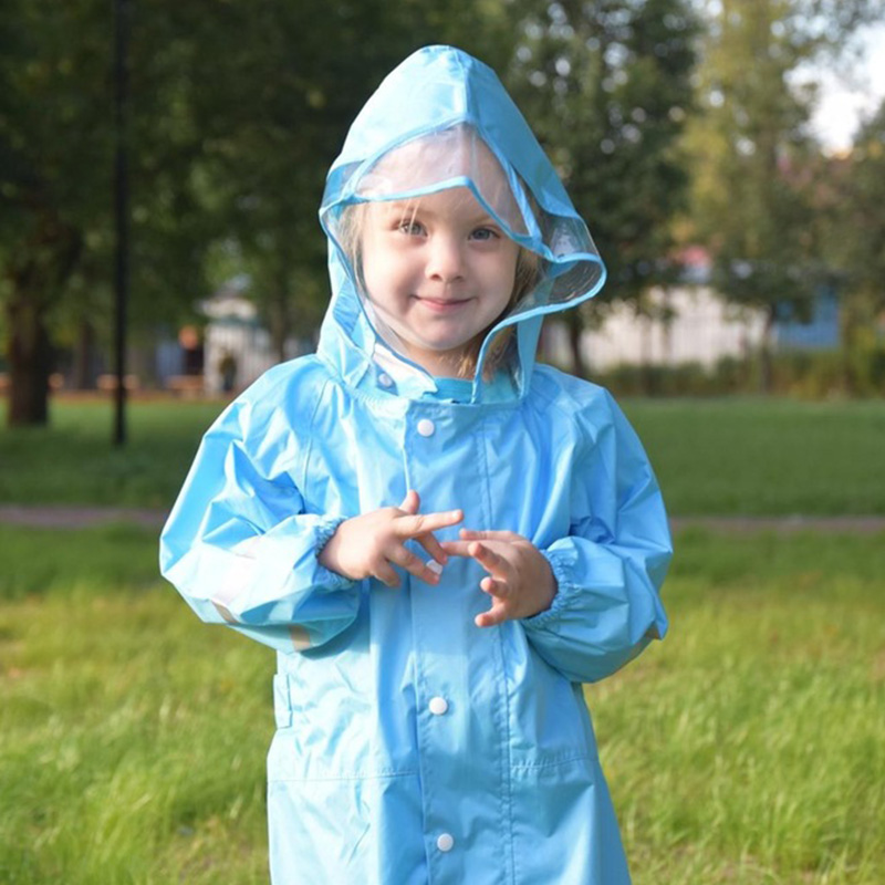 QIAN 2-9 Years Old Jumpsuit Raincoat Hooded Cartoon Kids One-Piece Rain Coat Tour Fashionable Waterproof Children Rain Gear Suit