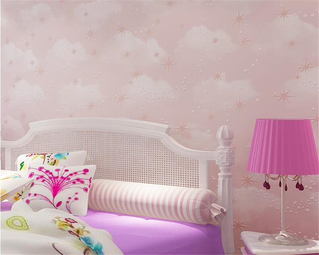 US $27 41 23% OFF|beibehang Children room background wall 3d wallpaper pink  sky blue yellow wallpaper roll children bedroom decor 3D wallpaper-in