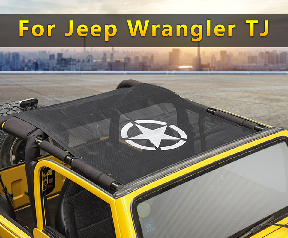 1SHINEKA Car Covers for Jeep wrangler tj 1997-2006 Top Sunshade Mesh Car Cover Roof Trunk UV Proof Protection Net for wrangler TJ