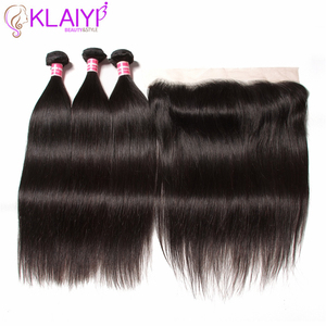 Image 3 - Klaiyi Peruvian Straight Hair 13*4 Lace Frontal Closure With Bundles Remy Human Hair 3 Bundles With Frontal Closure