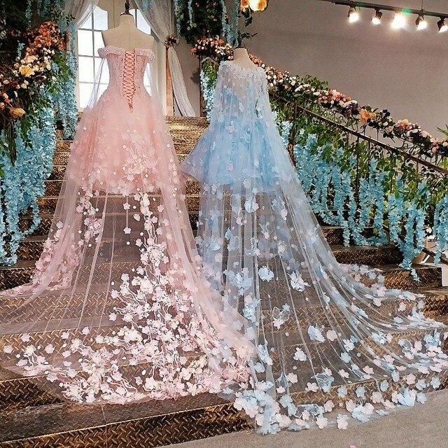 Vestido de noche corto con capa larga de encaje hacia arriba apliques de espalda rosa y azul vestidos de fiesta abendkleider 2020 fotos reales