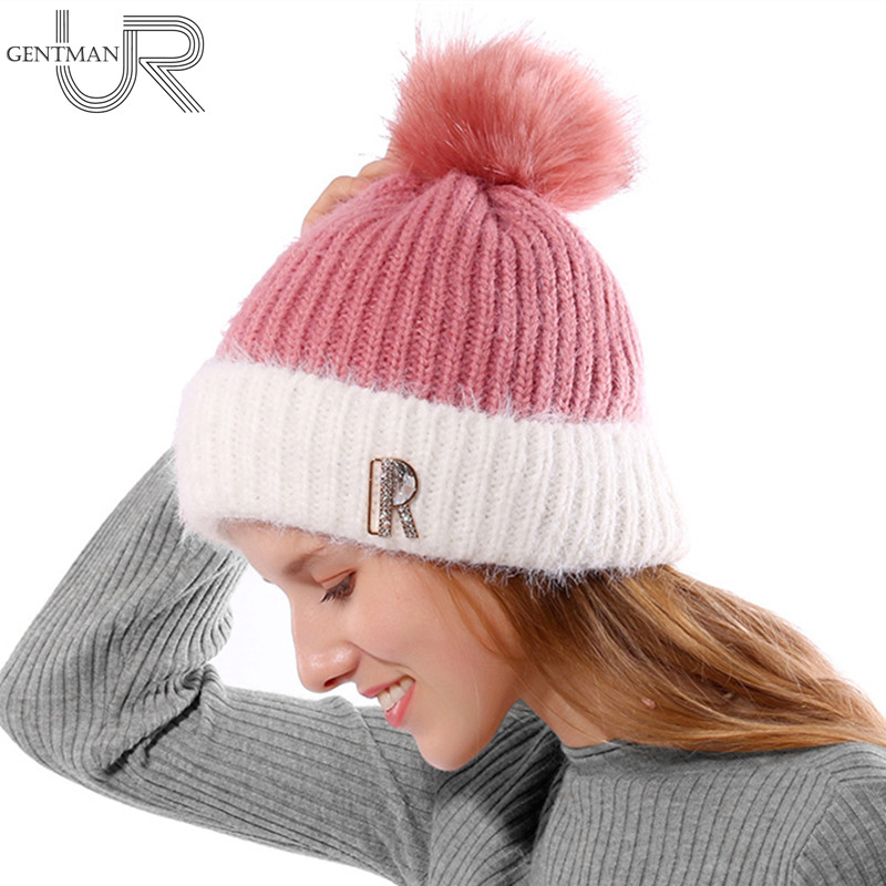 Fashion New Women Winter Hat Female Warm   Skullies     Beanies   R Letter Fur Knitted Hat For Woman Lady Winter Rabbit Fur Pompom Hats