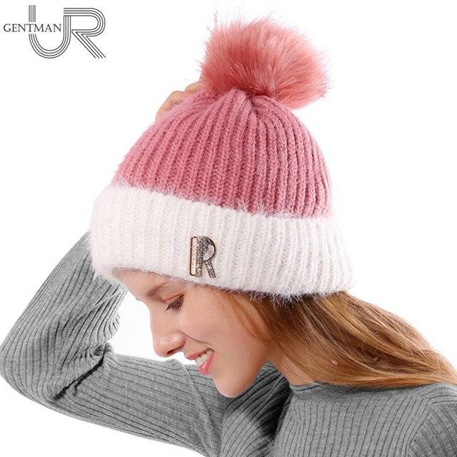 Moda nueva mujer invierno sombrero caliente Skullies Beanies letra R Fur  punto Hat para la mujer bf54cba74ad