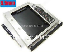 Бесплатная доставка SATA HDD жесткий диск с драйвером адаптер для 9.5 мм универсальный cd/dvd-rom optibay алюминий сплав диск кронштейн