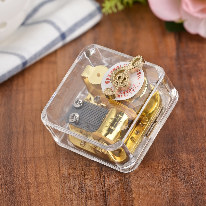 Best Gift Music Box Exquisite Circle Gold Transparent Wind Up Music Box Gift Castle In The Sky Happy Birthday 6 Songs