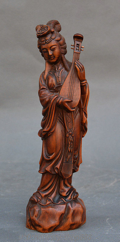 Crafts statue 8 China Ancient Boxwood Wood Carved Play Lute Beauty Beautiful Woman Sculpture