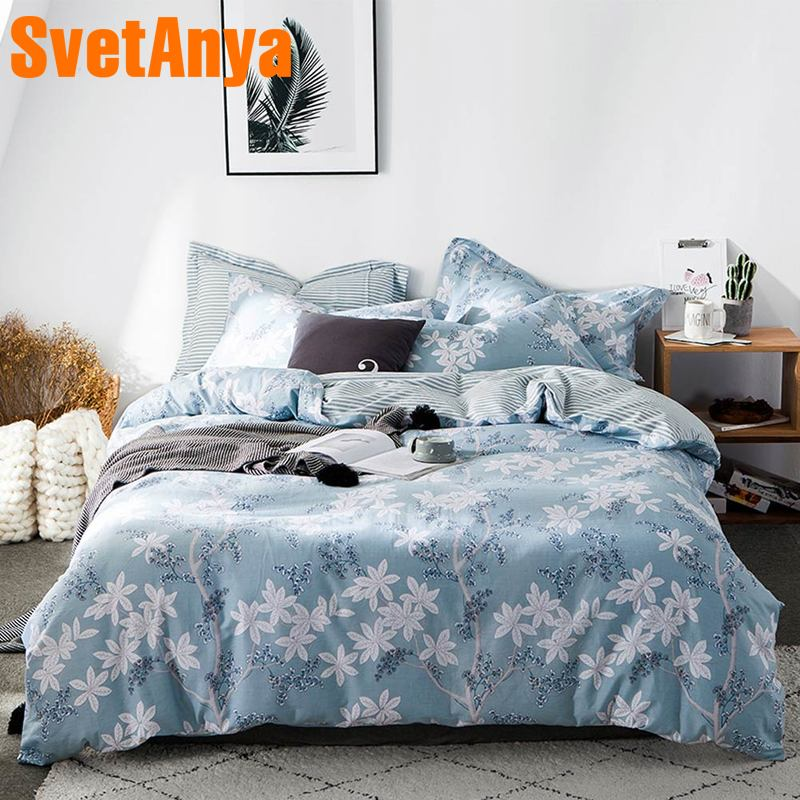 Svetanya 2019 new Floral Print bedding set Cotton Bedlinen sheet <font><b>pillowcase</b></font> Duvet Cover single double size image