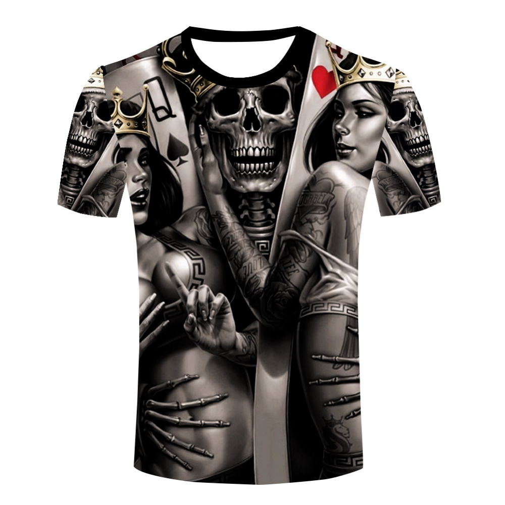 Wholesale men the dark poker t shirt queen king tattoo for Tattoo t shirts wholesale