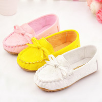 Children Flats Shoes Princess Bow Flat PU Solid Girls Shoes For Party And School Rubber Outsole