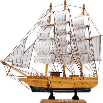 Akdeniz Ahşap El Sanatları Yelkenli Tekne Heykelcik Süs Vintage Simülasyon Yelkenli Modeli Gemi Ev Ofis Masaüstü Dekor Hediye