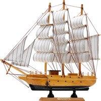 Mediterranean Wooden Crafts Sailing Boat Figurine Ornament Vintage Simulation Sailboat Model Ship Home Office Desktop Decor Gift