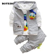 Новые комплекты одежды для мальчиков «Дональд Дак» детская осенняя хлопковая рубашка с длинными рукавами с персонажем+штаны+жилетка комплект из 3 предметов комплект детской одежды