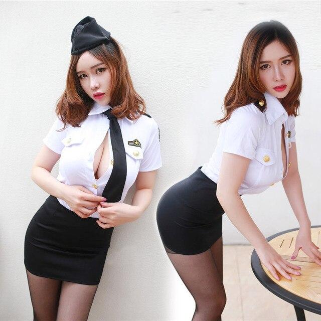 Phụ nữ Cảnh Sát Cosplay Đồng Phục Sexy Trang Phục Kỳ Lạ Cop Trang Phục Phụ Nữ Phụ Nữ Ưa Thích Màu Xanh Daisy Nịt Halloween Váy Đen Satin