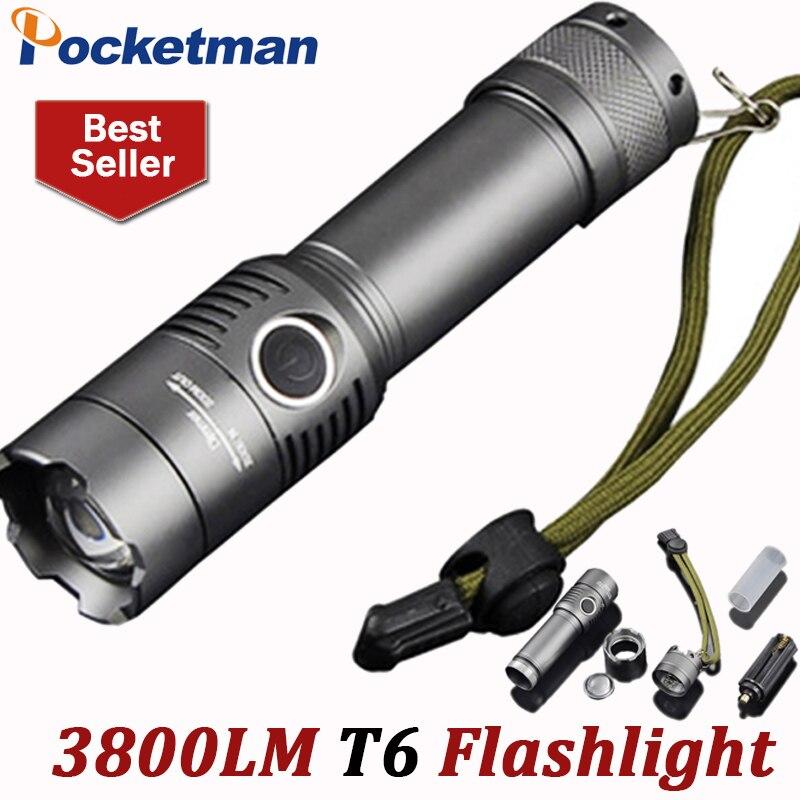 3800 Lumens puissant Lampe de poche LED T6 rechargeable porte-clés Torche 3 Modes Lampe de poche tactique Zoomable Torche Lampe ZK93