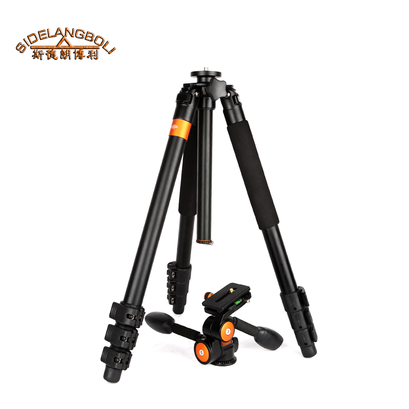 SL348 heavy duty camera tripod  with handle damping head , 15kg big load capacity aluminum tripod for Telescope  free shipping free shipping velbon ex 440 blue camera photo tripod w panhead 1534mm load 2kg