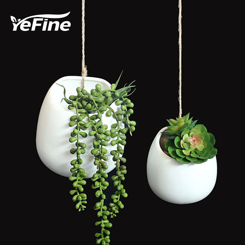 YeFine Creative Hanging Basket Ceramic Flower Pot Hang A Wall Flowerpot Nursery Horticulture Plant Pot Culture Decoration