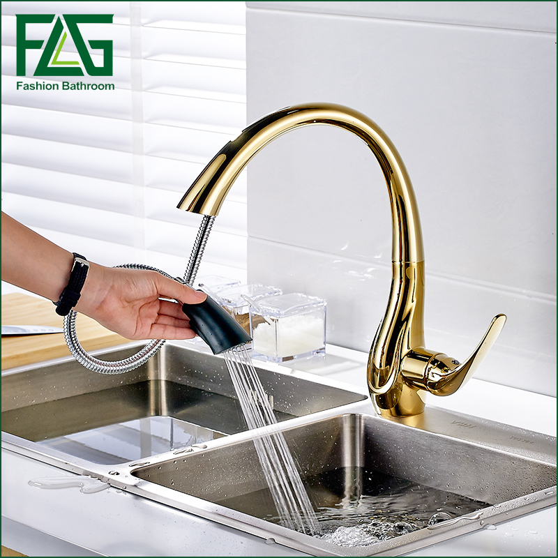 Free Shipping Pull Out Gold Kitchen Faucets Hot and Cold Vegetables Basin Rotating Taps All Copper