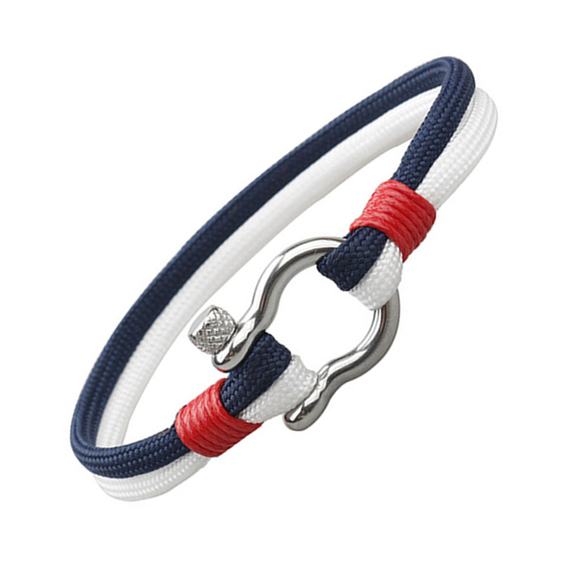 New Arrival Outdoor Camping Rescue Survival Bracelet Men Sports Paracord Braided Rope Horseshoe Buckle Stainless Steel Bracelet