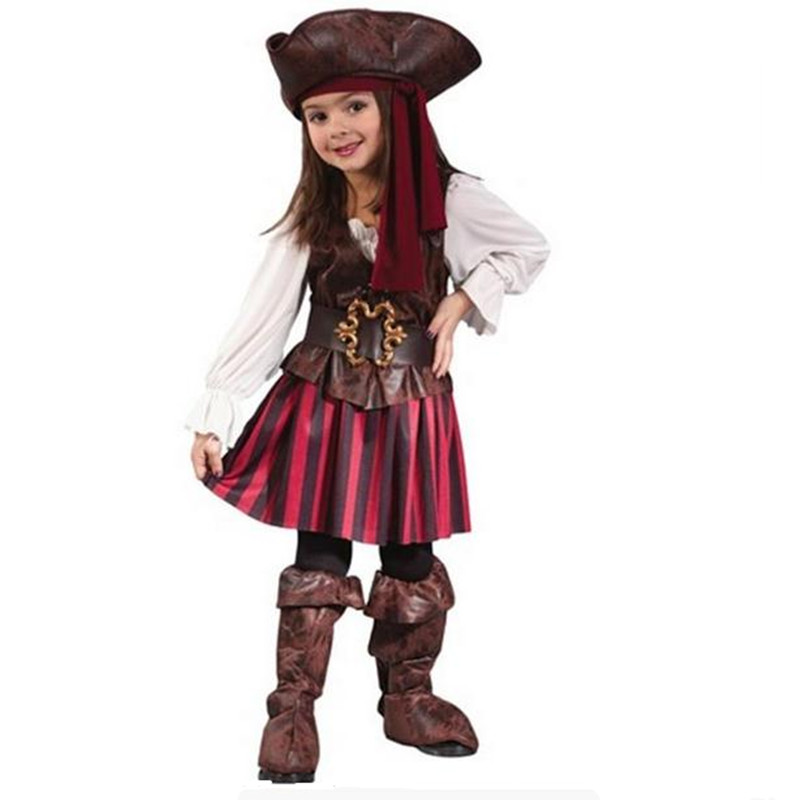 Birthday Party  Girls Elis Pirate Captain Cosplay Costume Purim Carnival Party Dress