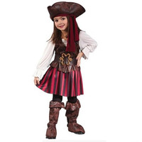 2017 New Halloween Children S Clothing Girl Masquerade Dress Cosplay Costume Elis Pirate Captain Performance Costume