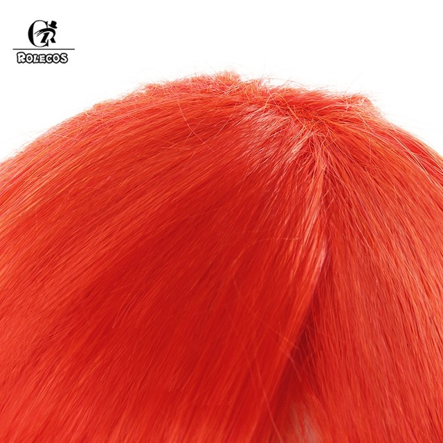 ROLEOCS LOL Lux Cospaly Hair Battle Academia Lux Cospaly Headwear 55CM Long Synthetic Hair Orange Ponytail for Women
