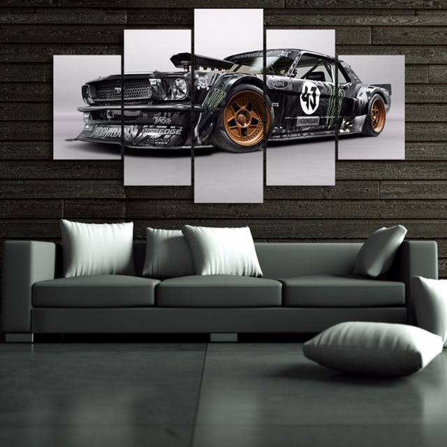 Modern Poster Home Frame Wall Art Pictures Living Room 5 Pieces Ford Mustang Rtr Car Painting Canvas Hd Printed